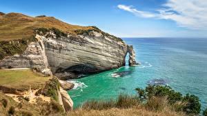 Фото Новая Зеландия Море Побережье Скалы Cape Farewell Arch, Puponga