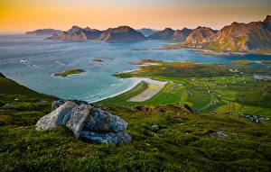 Фотография Норвегия Горы Лофотенские острова Побережье Залива Ryten Природа