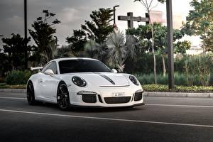 Фотографии Порше Белая GT3 911 авто
