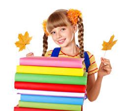 Обои Школа Белом фоне Девочка Взгляд Улыбка Рука Листья Книги Косы Дети