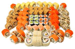 Картинка Морепродукты Суши Много Белом фоне Еда
