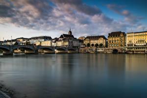 Фотографии Швейцария Дома Реки Мост Basel Города