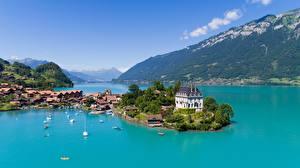 Картинки Швейцария Горы Озеро Яхта Вилла Альпы Lake Brienz, canton of Berne