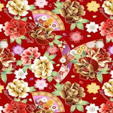Картинка Текстура Красном фоне Японские Japanese style цветок