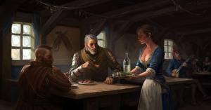 Обои для рабочего стола The Witcher 3: Wild Hunt Геральт из Ривии Фан АРТ tavern компьютерная игра Девушки
