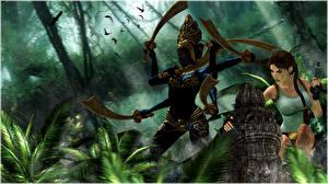 Фотография Tomb Raider Tomb Raider Anniversary Лара Крофт С мечом Statui Shivy Игры 3D_Графика Девушки