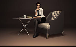 Обои Tomb Raider Лара Крофт Очки Кресло 3D_Графика Девушки