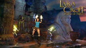 Картинки Tomb Raider Пистолет Лара Крофт Lara Croft and the Temple of Osiris компьютерная игра Девушки 3D_Графика