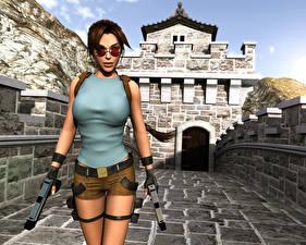 Обои Tomb Raider Пистолеты Лара Крофт Очков Tomb Raider 3: Adventures of Lara Croft Девушки 3D_Графика
