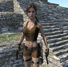 Обои Tomb Raider Tomb Raider Underworld Пистолет Лара Крофт компьютерная игра 3D_Графика Девушки