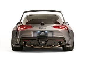 Фото Тойота Серая Металлик Вид сзади Белом фоне GR Supra, A90, 2019, Rutledge Wood, HyperBoost авто