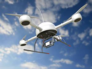 Картинка Беспилотный летательный аппарат Квадрокоптер Летящий Авиация