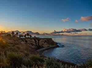 Фото Америка Берег Рассветы и закаты Океан Калифорнии Скала Pelican Cove