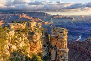 Фотографии Америка Гранд-Каньон парк Скала Облачно Arizona Природа