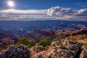 Фото США Гранд-Каньон парк Небо Солнце Облачно Каньона Arizona Природа