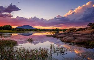 Картинка Америка Озеро Вечер Рассветы и закаты Облачно Prescott, Willow Lake, Arizona