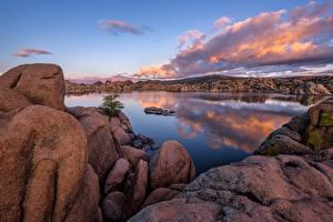 Фотографии США Озеро Камни Скала Облачно Granite Dells, Prescott, Arizona