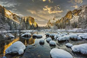 Фото Штаты Парк Зимние Гора Озеро Камень Пейзаж Йосемити Снега Природа