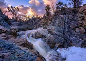 Картинки Штаты Камень Реки Скала Деревья Thumb Butte, Prescott, Arizona Природа