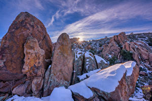 Картинка Америка Камни Рассветы и закаты Скалы Снег Granite Dells