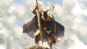 Обои Воин Рыцарь Рога Доспехах Золотой Мечи
