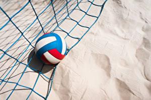 Фотографии Мяч Песке Спортивная сетка volleyball спортивные