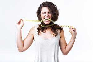Картинка Женщина Шатенка Платье Зубы Измерительная лента Диета Оскал девушка