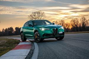 Обои Alfa Romeo Вечер Дороги Зеленый Металлик Кроссовер Stelvio Quadrifoglio, 2020