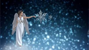 Фотографии Ангел Снежинки 3D Графика Девушки Фэнтези