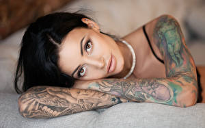 Картинки Брюнеток Руки Взгляд Татуировка Лицо Anya Sugar Девушки