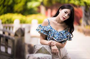 Картинки Азиатка Боке Руки Взгляд Брюнеток девушка