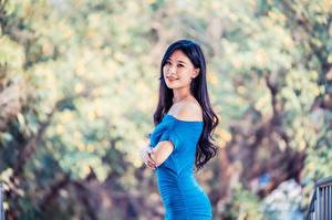 Фотографии Азиатки Платье Взгляд Боке Брюнеток