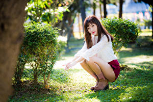 Обои Азиаты Сидит Ноги Блузка Взгляд девушка