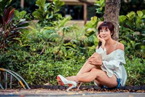 Фотографии Азиаты Сидит Туфлях Ноги Ствол дерева Взгляд молодая женщина