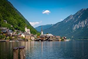 Картинка Австрия Халльштатт Озеро Гора Здания Альпы Lake Hallstatt Природа
