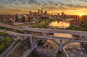 Картинка Мост Рассвет и закат Здания Штаты Minnesota, Minneapolis, Mississippi River город