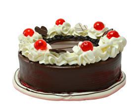 Фото Торты Шоколад Ягоды Белый фон Дизайн Еда