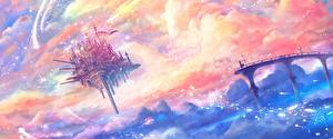 Картинки Замок Фантастический мир Облачно floating castle