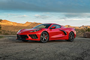 Обои Chevrolet Красные Металлик 2020 Corvette Stingray Z51 машина