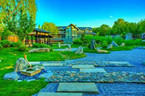 Обои для рабочего стола Китай Парк Камень HDR Дизайн Газон Кустов Beijing Zen Garden Природа