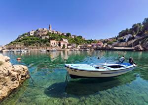 Фотография Хорватия Лодки Утес Бухты Холм Vrbnik Природа