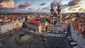 Фото Чехия Прага Дома Городской площади Улица Башня Сверху Plaza de la Ciudad Vieja город