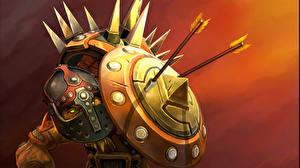 Обои DOTA 2 Бристлбек Воин Щит В шлеме Игры Фэнтези