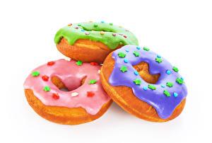 Фотография Пончики Сахарная глазурь Белый фон Втроем Звездочки