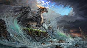 Картинка Драконы Волны Черный Timi Honkanen Фэнтези