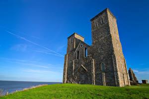 Фотографии Англия Церковь Небо Развалины Башни HDR Kent, Reculver Towers Природа