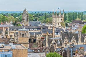 Фотографии Англия Здания Крыше Cambridge