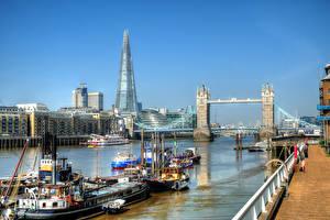 Фото Англия Речка Мост Речные суда Здания Лондоне Набережной город