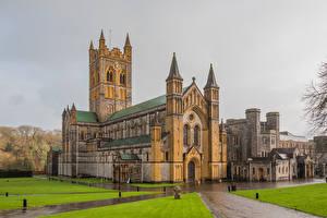 Фотография Англия Храм Монастырь Дождь Buckfast Abbey город