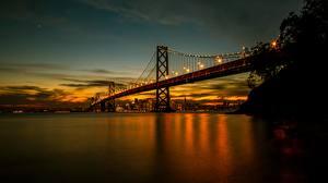 Картинки Вечер Рассветы и закаты Мосты Штаты Сан-Франциско Залив Bay Bridge город
